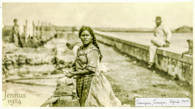 indigenous woman washing clothes in Tampico (Mexico)